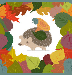 image autumn leaves and hedgehog vector image
