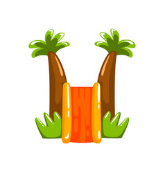 inflatable slide with palm trees summer amusement vector image
