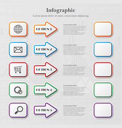 Infographic with arrows and squares vector