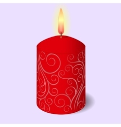 Isolated burning candle with ornament on blue vector