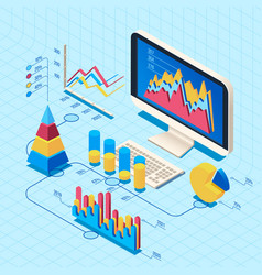 isometric finance data analysis market position vector image