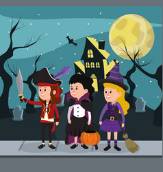 Kids and halloween custome vector