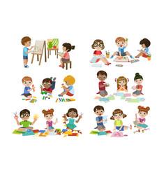 Kids creativity practice vector