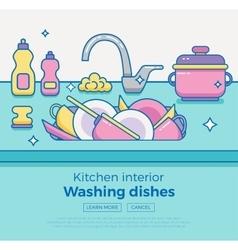 Kitchen sink with kitchenware vector