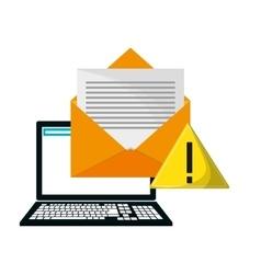 Laptop warning envelope call center design vector