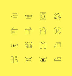 laundry linear icon set simple outline icons vector image