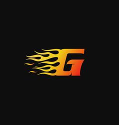 letter g burning flame logo design template vector image