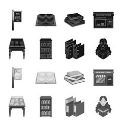 library and bookstore blackmonochrome icons in vector image