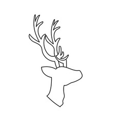 Line deer wild animal to natural reserve vector