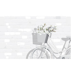 Magnolia flowers and vintage bicycle vector