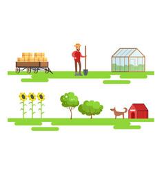 Male farmer working at farm set eco farm elements vector