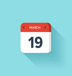 March 19 Isometric Calendar Icon With Shadow vector image