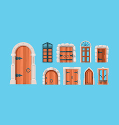 Medieval doors ancient wooden and steel doors old vector
