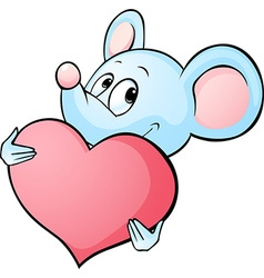 Mouse cartoon hold heart isolated on white vector