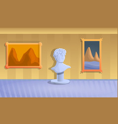museum sculpture concept banner cartoon style vector image