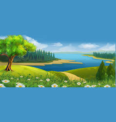 Nature landscape stream valley background vector image