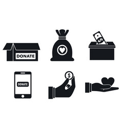 Nonprofit donations icons set simple style vector