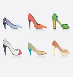 of six shoes vector image