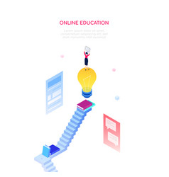 Online education concept - modern isometric vector