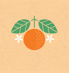 orange with leaves and flowers vector image