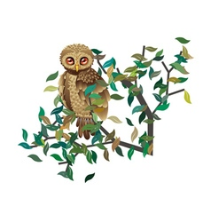 Owl on branch with leaves vector