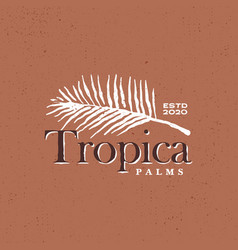 palm leaf tropical vintage logo icon vector image
