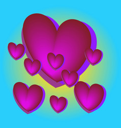pink heart balloons in the blue sky bright colors vector image