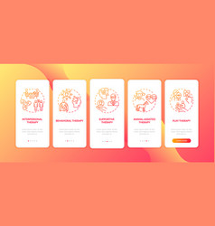 Psychotherapy approaches onboarding mobile app vector