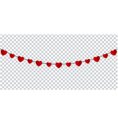 red paper hearts garland for valentines day card vector image