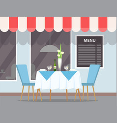 restaurant outdoors view exterior elegant table vector image