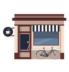 Restaurants and shops facade storefront vector