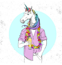 retro hipster fantasy animal unicorn vector image