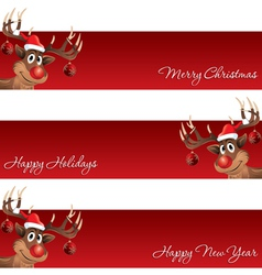 Rudolph the reindeer christmas and new year banner vector