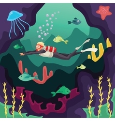 Scuba diver swimming under water vector image