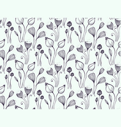 seamless pattern with hand drawn floral fantasy vector image