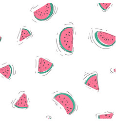 seamless pattern with watermelon slices on white vector image