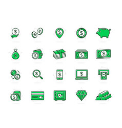 set bank and money colored line icons vector image