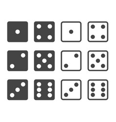 set dices in front view vector image