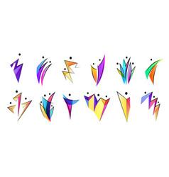 Set human body logos people shapes vector