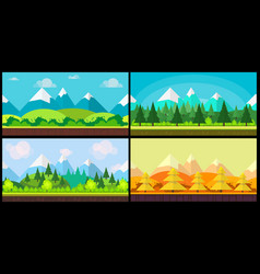 set of 4 cartoon nature backgrounds and landscapes vector image
