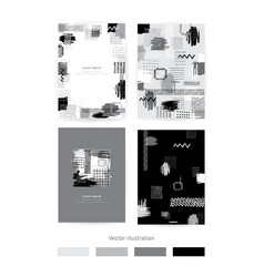set of cards with monochrome blots set of vector image