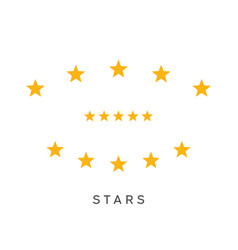 set of yellow five stars rating symbol vector image