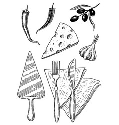 set pizza and ingredients for cooking spatula vector image