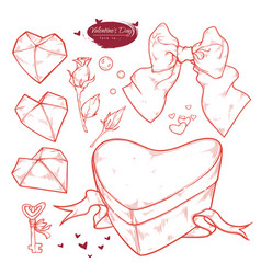set valentines day hand drawn gift in the shape vector image