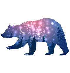 Silhouette a bear with space galaxy background vector