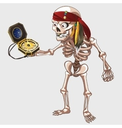 Skeleton pirate holding ancient compass vector