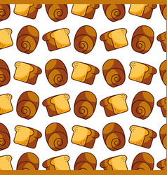 slice bread bun bakery kitchen seamless pattern vector image