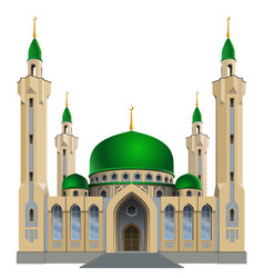 Small mosque with four minarets vector