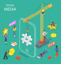 social media flat isometric concept vector image