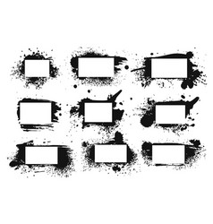 spray ink frame grunge inked black border vector image